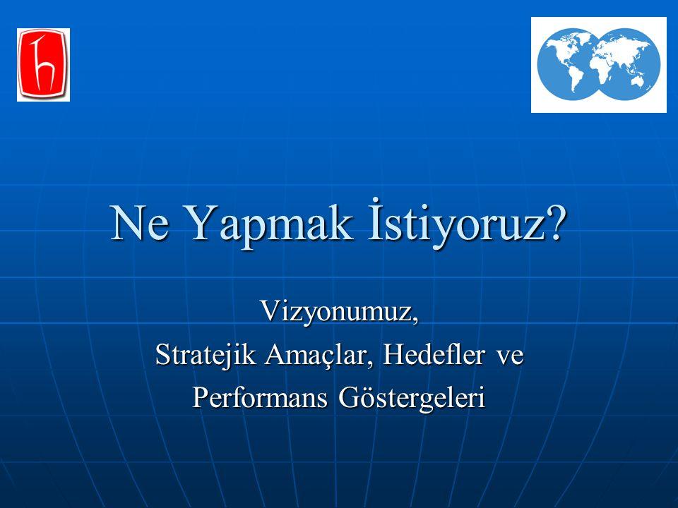Ne Yapmak İstiyoruz? Vizyonumuz, Stratejik Amaçlar, Hedefler ve Performans Göstergeleri