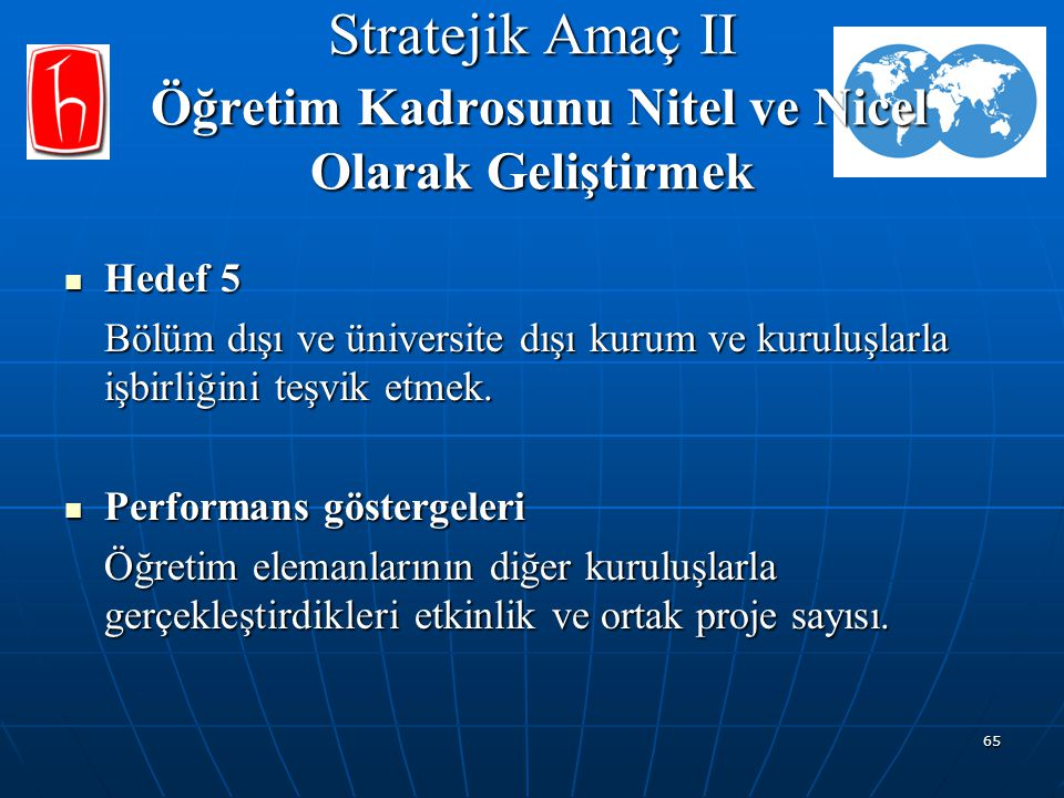 65 Stratejik Amaç II Öğretim Kadrosunu Nitel ve Nicel Olarak Geliştirmek Hedef 5 Hedef 5 Bölüm dışı ve üniversite dışı kurum ve kuruluşlarla işbirliği