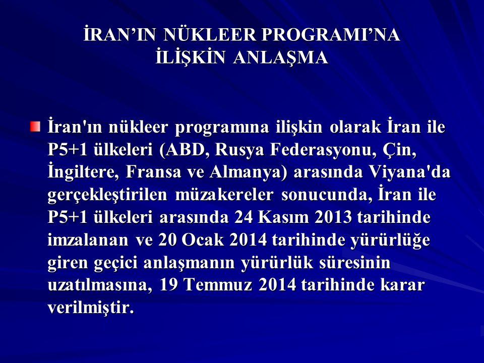 İRAN'IN NÜKLEER PROGRAMI'NA İLİŞKİN ANLAŞMA İran'ın nükleer programına ilişkin olarak İran ile P5+1 ülkeleri (ABD, Rusya Federasyonu, Çin, İngiltere,