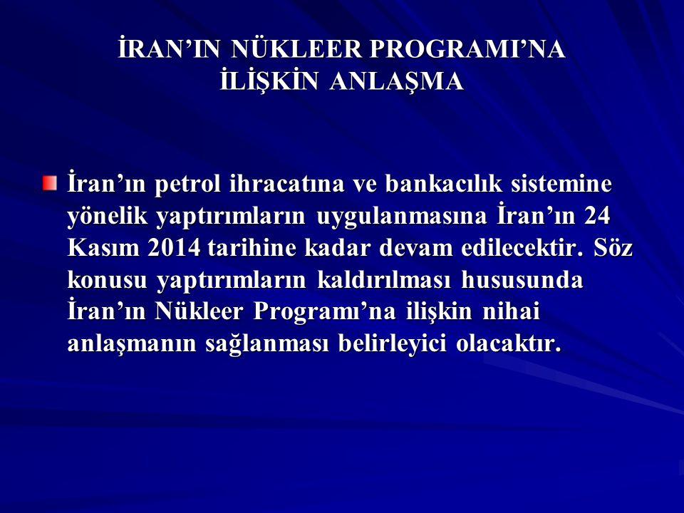 İRAN'IN NÜKLEER PROGRAMI'NA İLİŞKİN ANLAŞMA İran'ın petrol ihracatına ve bankacılık sistemine yönelik yaptırımların uygulanmasına İran'ın 24 Kasım 201