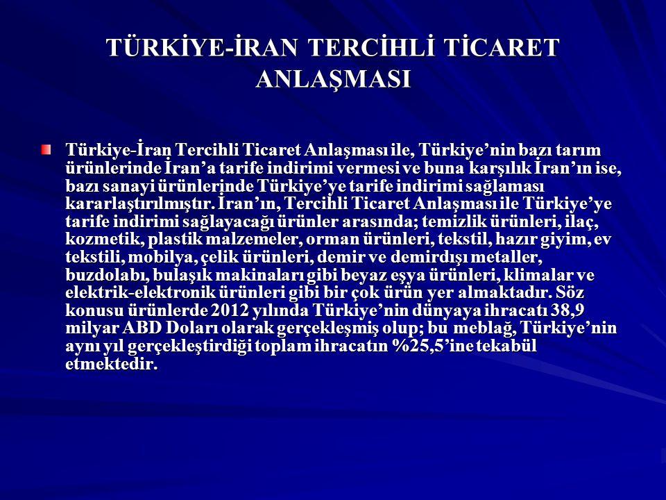 TÜRKİYE-İRAN TERCİHLİ TİCARET ANLAŞMASI Türkiye-İran Tercihli Ticaret Anlaşması ile, Türkiye'nin bazı tarım ürünlerinde İran'a tarife indirimi vermesi