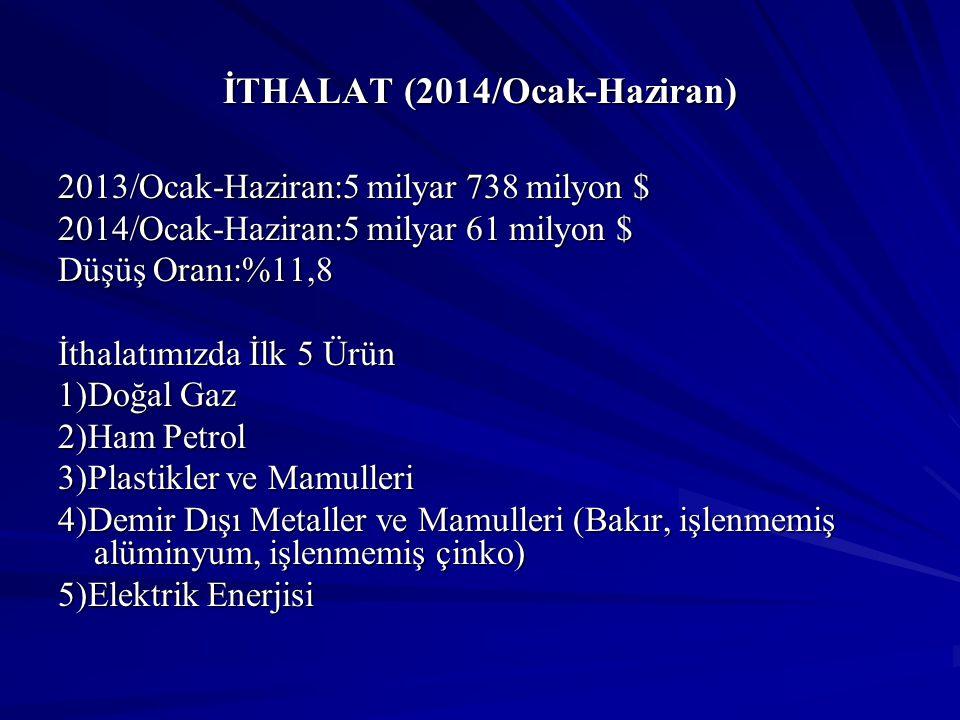 İTHALAT (2014/Ocak-Haziran) 2013/Ocak-Haziran:5 milyar 738 milyon $ 2014/Ocak-Haziran:5 milyar 61 milyon $ Düşüş Oranı:%11,8 İthalatımızda İlk 5 Ürün