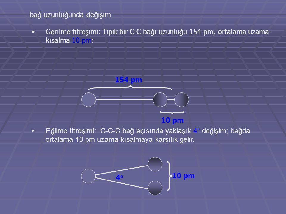 4o4o 10 pm 154 pm bağ uzunluğunda değişim Gerilme titreşimi: Tipik bir C-C bağı uzunluğu 154 pm, ortalama uzama- kısalma 10 pm: Eğilme titreşimi: C-C-