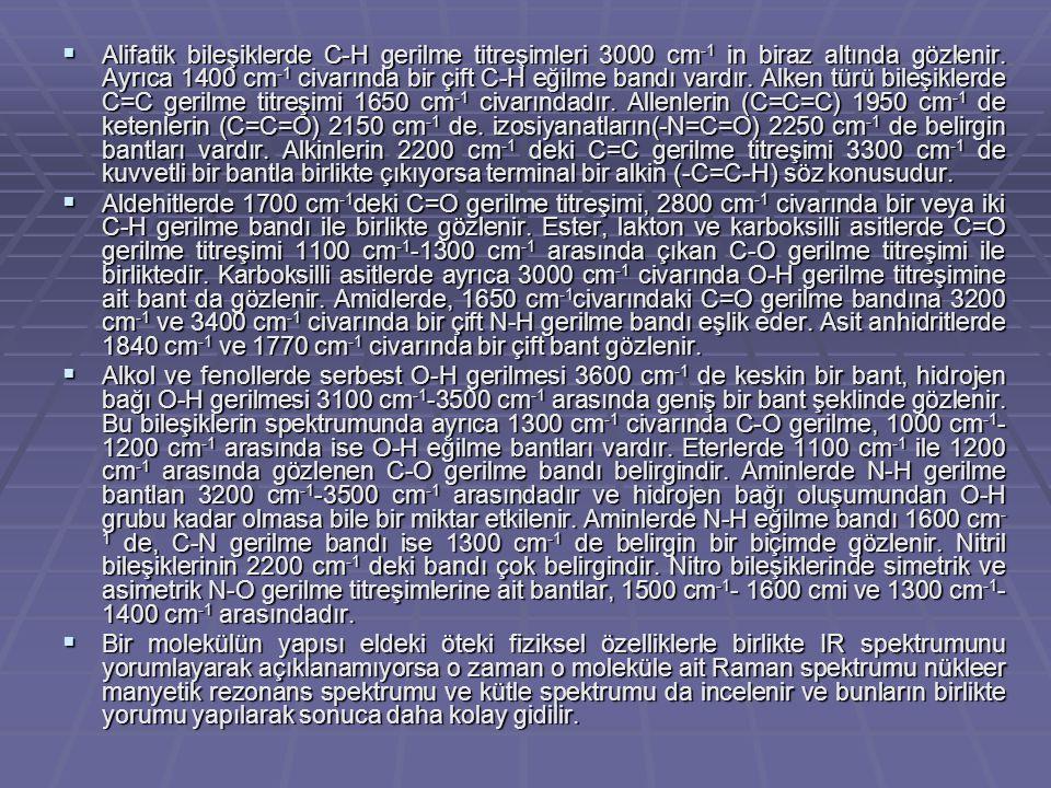  Alifatik bileşiklerde C-H gerilme titreşimleri 3000 cm -1 in biraz altında gözlenir. Ayrıca 1400 cm -1 civarında bir çift C-H eğilme bandı vardır. A