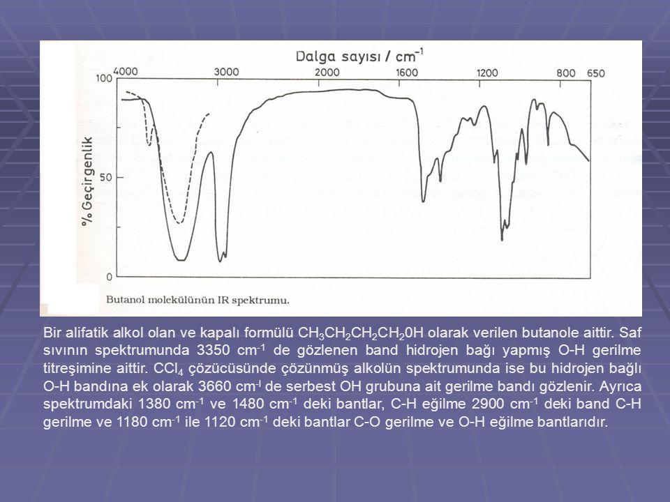 Bir alifatik alkol olan ve kapalı formülü CH 3 CH 2 CH 2 CH 2 0H olarak verilen butanole aittir. Saf sıvının spektrumunda 3350 cm -1 de gözlenen band