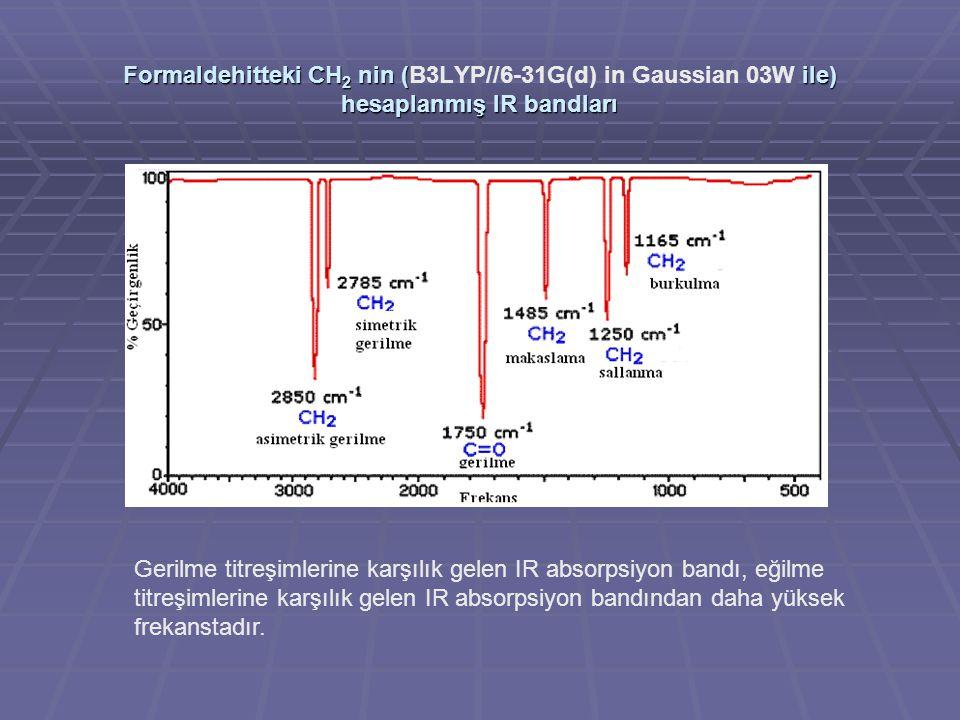 Formaldehitteki CH 2 nin ( ile) hesaplanmış IR bandları Formaldehitteki CH 2 nin (B3LYP//6-31G(d) in Gaussian 03W ile) hesaplanmış IR bandları Gerilme
