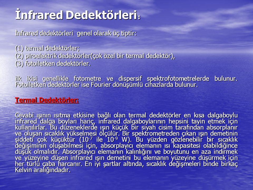 İnfrared Dedektörleri : İnfrared dedektörleri genel olarak üç tiptir: (1) termal dedektörler; (2) piroelektrik dedektörler(çok özel bir termal dedektö