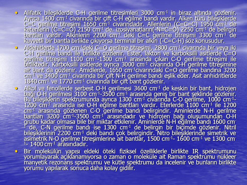 Alifatik bileşiklerde C-H gerilme titreşimleri 3000 cm -1 in biraz altında gözlenir. Ayrıca 1400 cm -1 civarında bir çift C-H eğilme bandı vardır. Alk