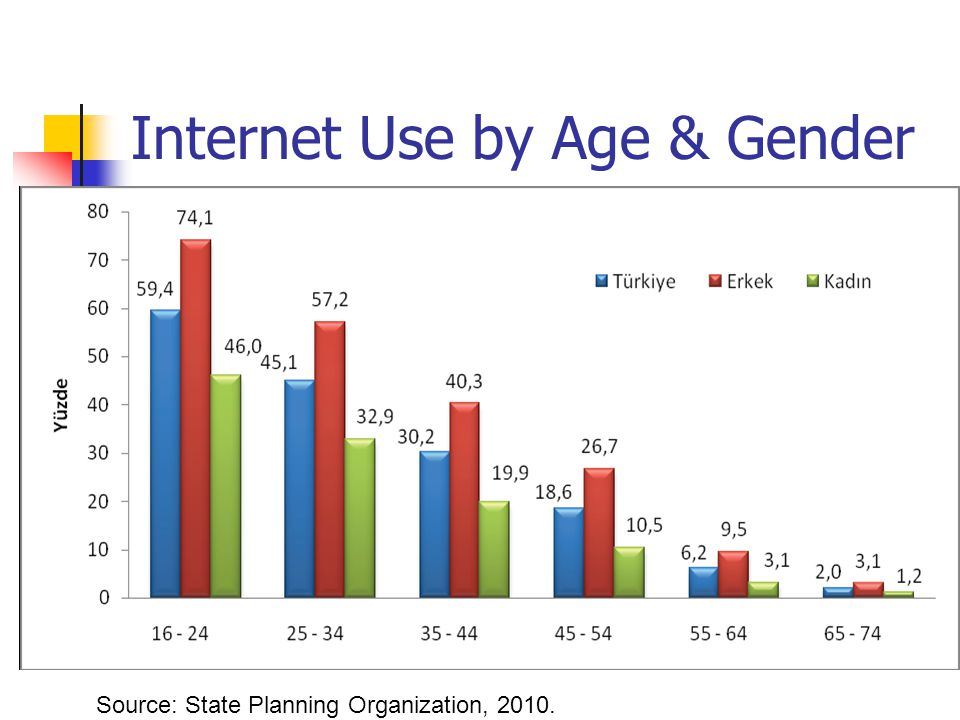 Internet Use by Age & Gender Source: State Planning Organization, 2010.