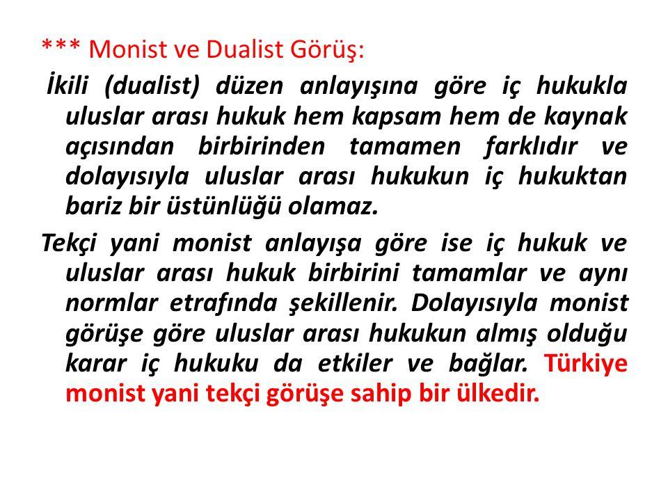 *** Monist ve Dualist Görüş: İkili (dualist) düzen anlayışına göre iç hukukla uluslar arası hukuk hem kapsam hem de kaynak açısından birbirinden tamam