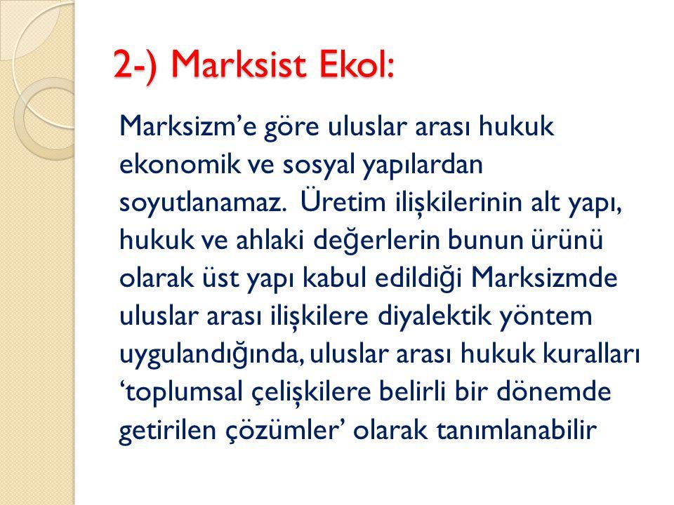 2-) Marksist Ekol: Marksizm'e göre uluslar arası hukuk ekonomik ve sosyal yapılardan soyutlanamaz. Üretim ilişkilerinin alt yapı, hukuk ve ahlaki de ğ