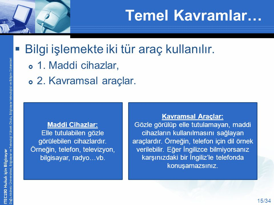 Temel Kavramlar…  Bilgi işlemekte iki tür araç kullanılır.