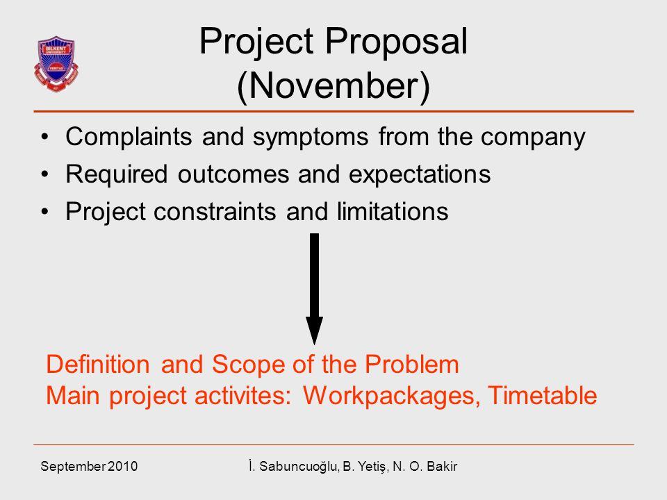 September 2010İ. Sabuncuoğlu, B. Yetiş, N. O. Bakir Project Proposal (November) Complaints and symptoms from the company Required outcomes and expecta