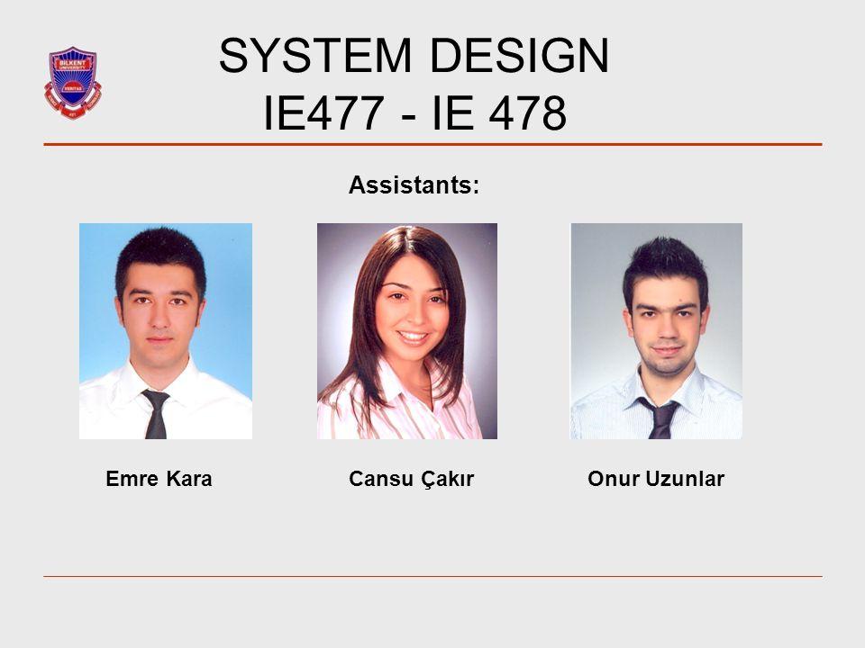 SYSTEM DESIGN IE477 - IE 478 Assistants: Emre KaraCansu ÇakırOnur Uzunlar