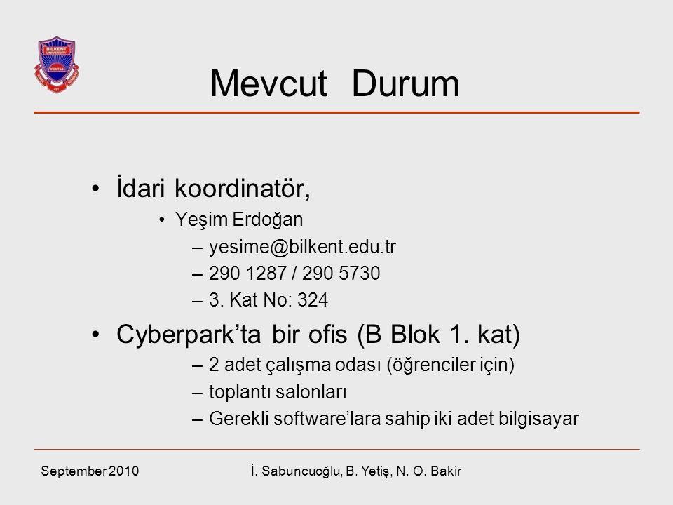 Mevcut Durum İdari koordinatör, Yeşim Erdoğan –yesime@bilkent.edu.tr –290 1287 / 290 5730 –3. Kat No: 324 Cyberpark'ta bir ofis (B Blok 1. kat) –2 ade