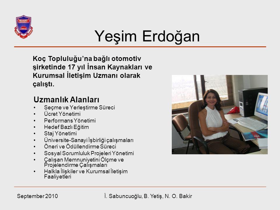 Yeşim Erdoğan Uzmanlık Alanları Seçme ve Yerleştirme Süreci Ücret Yönetimi Performans Yönetimi Hedef Bazlı Eğitim Staj Yönetimi Üniversite-Sanayi İşbi
