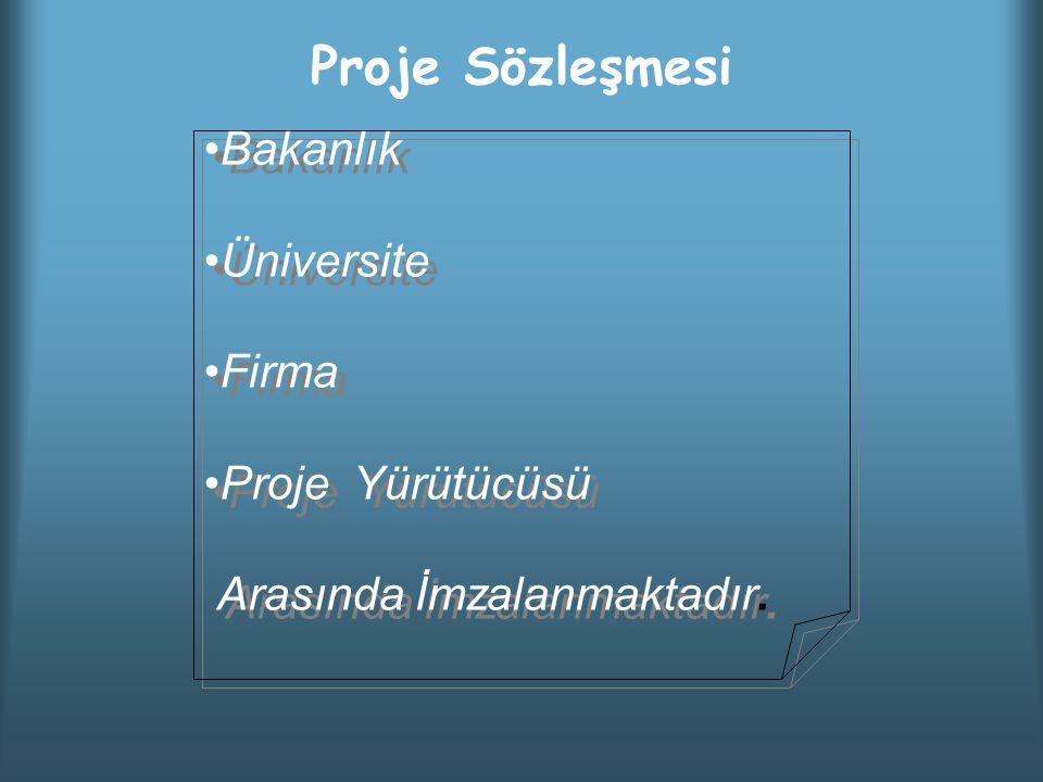 Proje Sözleşmesi Bakanlık Üniversite Firma Proje Yürütücüsü Arasında İmzalanmaktadır.