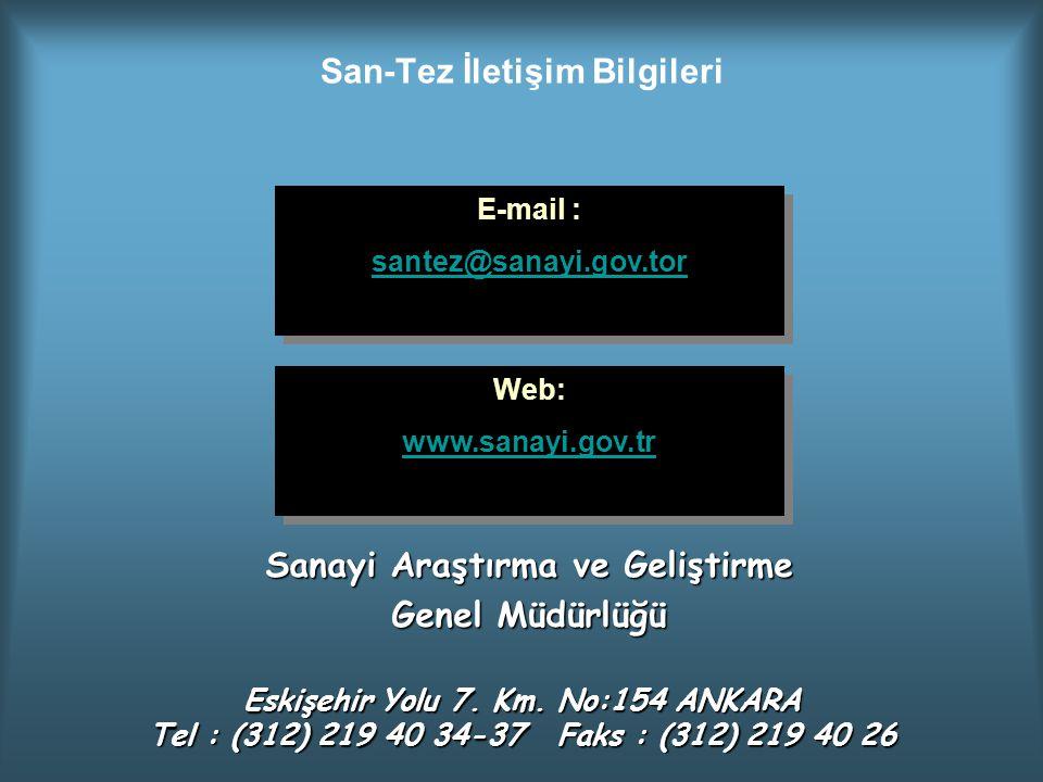 San-Tez İletişim Bilgileri E-mail : santez@sanayi.gov.tor E-mail : santez@sanayi.gov.tor Web: www.sanayi.gov.tr Web: www.sanayi.gov.tr Sanayi Araştırm