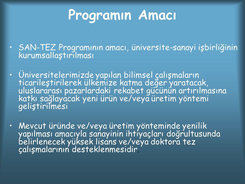 Programın Amacı SAN-TEZ Programının amacı, üniversite-sanayi işbirliğinin kurumsallaştırılması Üniversitelerimizde yapılan bilimsel çalışmaların ticar