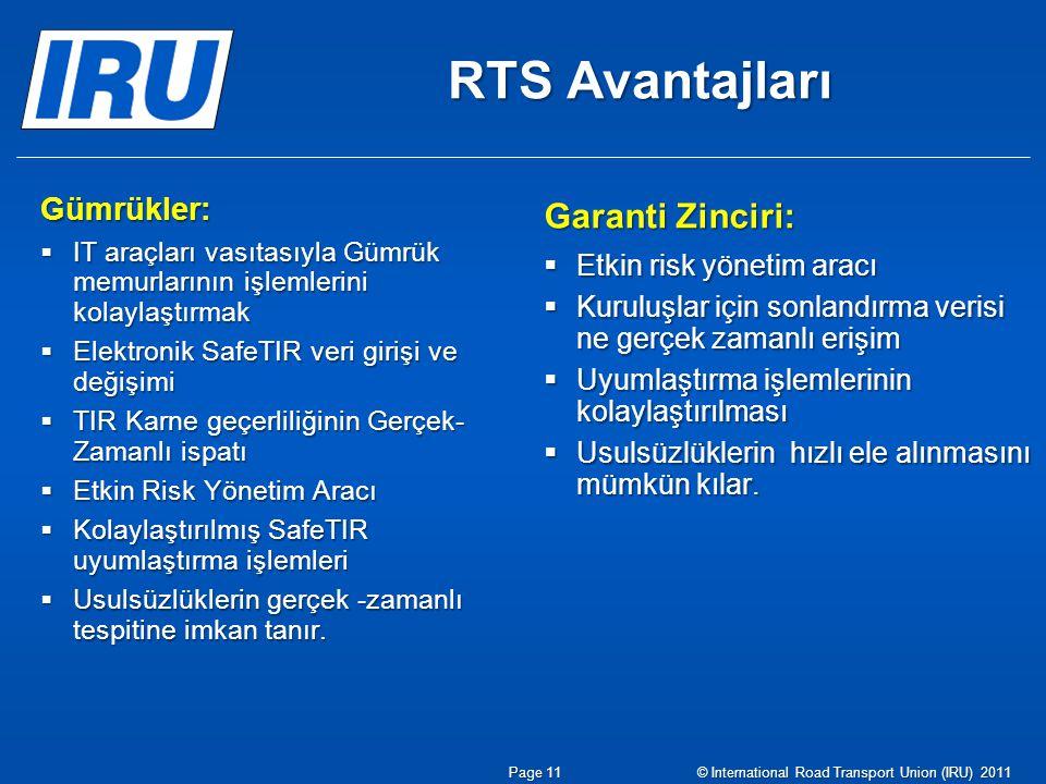 RTS Avantajları Garanti Zinciri:  Etkin risk yönetim aracı  Kuruluşlar için sonlandırma verisi ne gerçek zamanlı erişim  Uyumlaştırma işlemlerinin