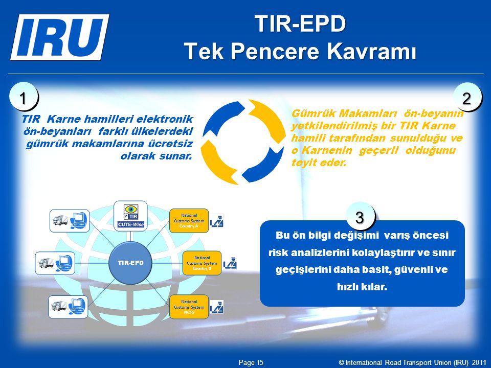 TIR-EPD Tek Pencere Kavramı TIR Karne hamilleri elektronik ön-beyanları farklı ülkelerdeki gümrük makamlarına ücretsiz olarak sunar. Gümrük Makamları