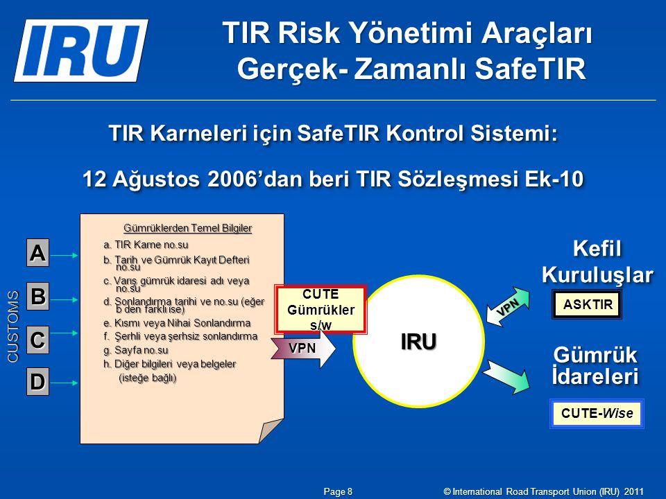TIR Risk Yönetimi Araçları Gerçek- Zamanlı SafeTIR TIR Karneleri için SafeTIR Kontrol Sistemi: 12 Ağustos 2006'dan beri TIR Sözleşmesi Ek-10 TIR Karneleri için SafeTIR Kontrol Sistemi: 12 Ağustos 2006'dan beri TIR Sözleşmesi Ek-10 Gümrük İdareleri Kefil Kuruluşlar A D C B CUSTOMS IRU CUTE-Wise ASKTIR VPN Gümrüklerden Temel Bilgiler a.