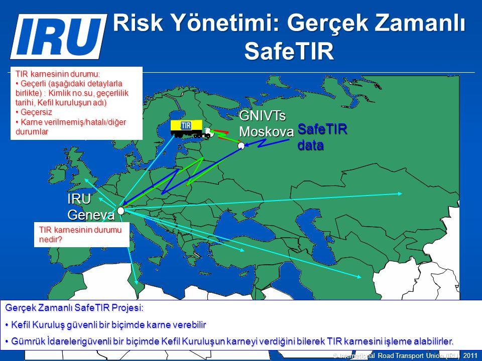 GNIVTs Moskova IRU Geneva SafeTIR data Gerçek Zamanlı SafeTIR Projesi: Kefil Kuruluş güvenli bir biçimde karne verebilir Kefil Kuruluş güvenli bir biçimde karne verebilir Gümrük İdarelerigüvenli bir biçimde Kefil Kuruluşun karneyi verdiğini bilerek TIR karnesini işleme alabilirler.
