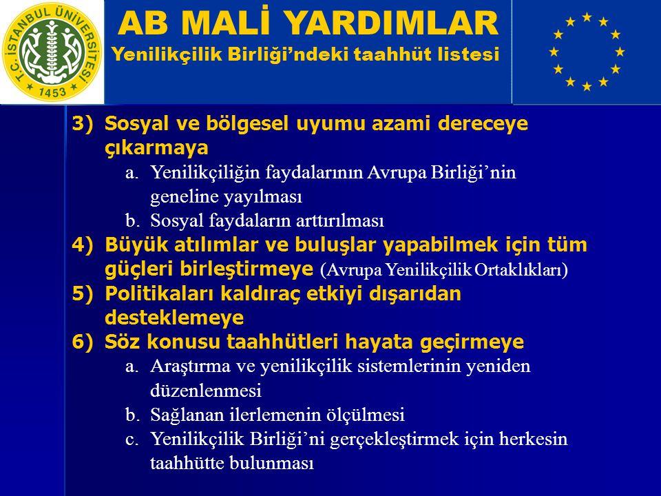 AB MALİ YARDIMLAR Yenilikçilik Birliği'ndeki taahhüt listesi 3)Sosyal ve bölgesel uyumu azami dereceye çıkarmaya a.Yenilikçiliğin faydalarının Avrupa Birliği'nin geneline yayılması b.Sosyal faydaların arttırılması 4)Büyük atılımlar ve buluşlar yapabilmek için tüm güçleri birleştirmeye (Avrupa Yenilikçilik Ortaklıkları) 5)Politikaları kaldıraç etkiyi dışarıdan desteklemeye 6)Söz konusu taahhütleri hayata geçirmeye a.Araştırma ve yenilikçilik sistemlerinin yeniden düzenlenmesi b.Sağlanan ilerlemenin ölçülmesi c.Yenilikçilik Birliği'ni gerçekleştirmek için herkesin taahhütte bulunması