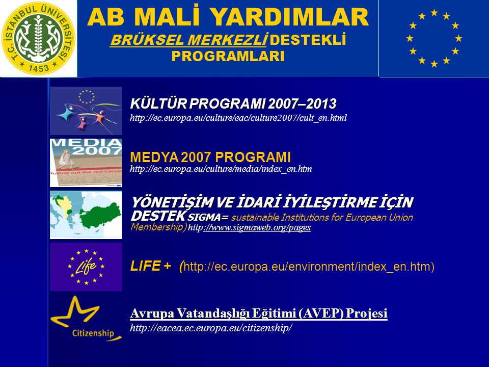 KÜLTÜR PROGRAMI 2007–2013 http://ec.europa.eu/culture/eac/culture2007/cult_en.html YÖNETİŞİM VE İDARİ İYİLEŞTİRME İÇİN DESTEK SIGMA= YÖNETİŞİM VE İDARİ İYİLEŞTİRME İÇİN DESTEK SIGMA= sustainable Institutions for European Union Membership) http://www.sigmaweb.org/pages://www.sigmaweb.org/pages LIFE + ( LIFE + ( http://ec.europa.eu/environment/index_en.htm) MEDYA 2007 PROGRAMI http://ec.europa.eu/culture/media/index_en.htm AB MALİ YARDIMLAR BRÜKSEL MERKEZLİ DESTEKLİ PROGRAMLARI Avrupa Vatandaşlığı Eğitimi (AVEP) Projesi http://eacea.ec.europa.eu/citizenship/
