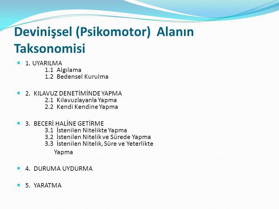 Devinişsel (Psikomotor) Alanın Taksonomisi 1.UYARILMA 1.1 Algılama 1.2 Bedensel Kurulma 2.