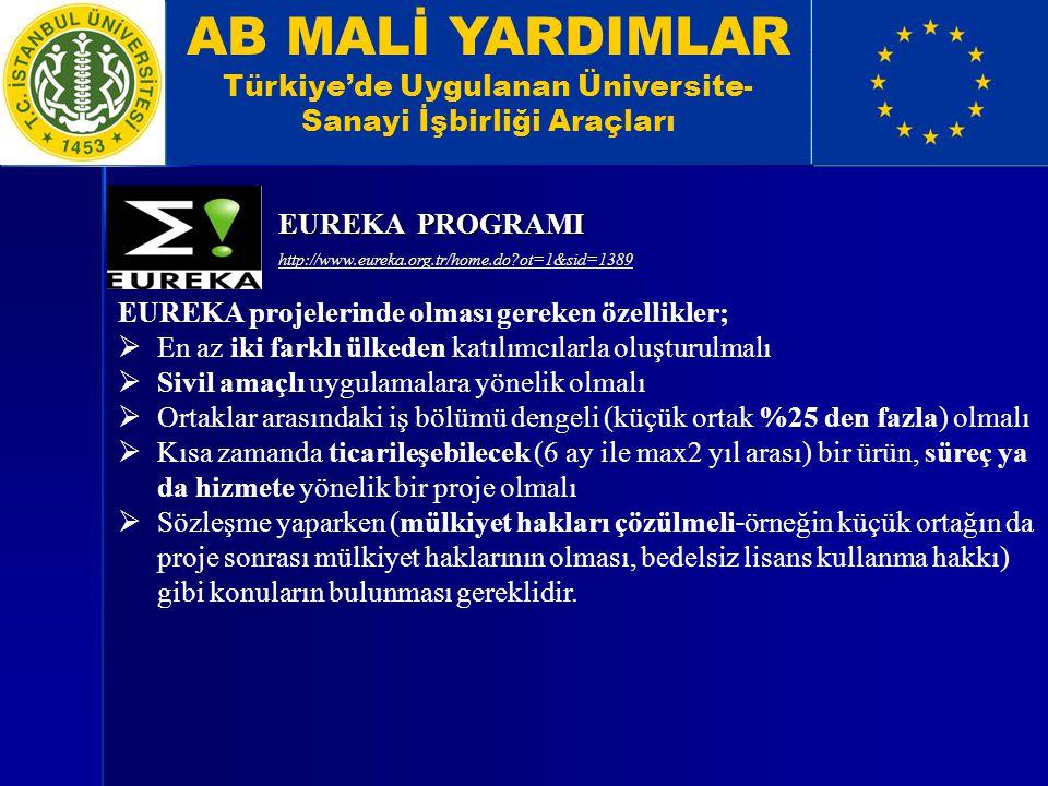 AB MALİ YARDIMLAR Türkiye'de Uygulanan Üniversite- Sanayi İşbirliği Araçları EUREKA projelerinde olması gereken özellikler;  En az iki farklı ülkeden