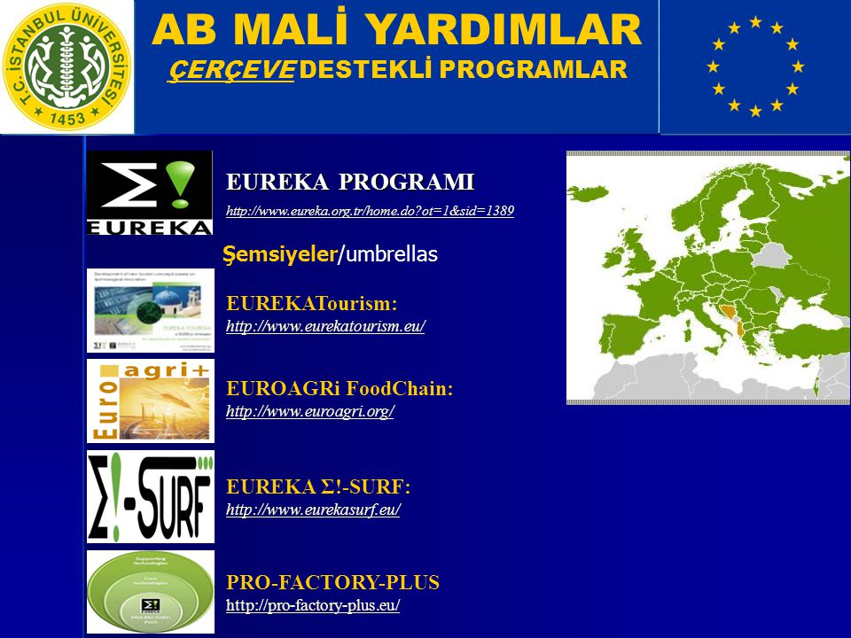 AB MALİ YARDIMLAR ÇERÇEVE DESTEKLİ PROGRAMLAR EUREKA PROGRAMI http://www.eureka.org.tr/home.do?ot=1&sid=1389 EUROAGRi FoodChain: http://www.euroagri.o