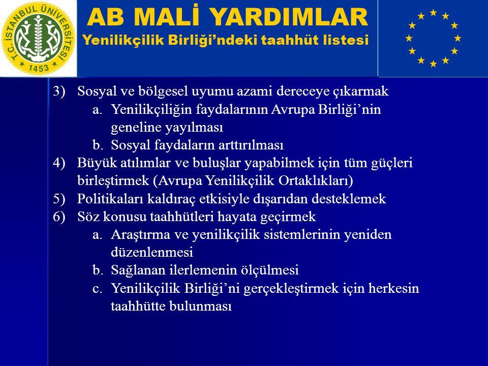 AB MALİ YARDIMLAR Yenilikçilik Birliği'ndeki taahhüt listesi 3)Sosyal ve bölgesel uyumu azami dereceye çıkarmak a.Yenilikçiliğin faydalarının Avrupa B