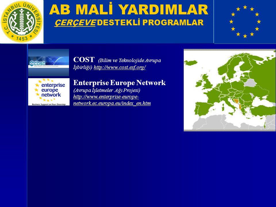 AB MALİ YARDIMLAR ÇERÇEVE DESTEKLİ PROGRAMLAR COST (Bilim ve Teknolojide Avrupa İşbirliği) http://www.cost.esf.org/http://www.cost.esf.org/ Enterprise