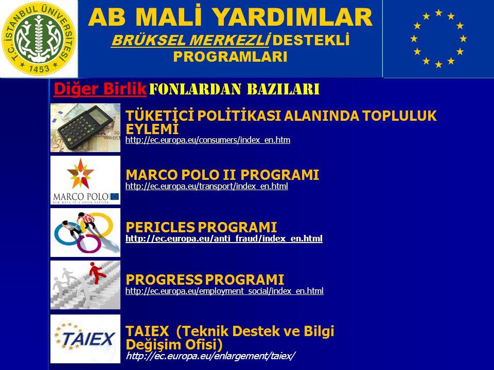 AB MALİ YARDIMLAR BRÜKSEL MERKEZLİ DESTEKLİ PROGRAMLARI Diğer Birlik FonlarDan bazIlarI TÜKETİCİ POLİTİKASI ALANINDA TOPLULUK EYLEMİ http://ec.europa.