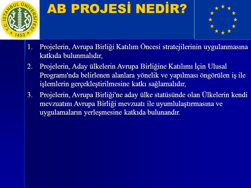 AB PROJESİ NEDİR? 1.Projelerin, Avrupa Birliği Katılım Öncesi stratejilerinin uygulanmasına katkıda bulunmalıdır, 2.Projelerin, Aday ülkelerin Avrupa