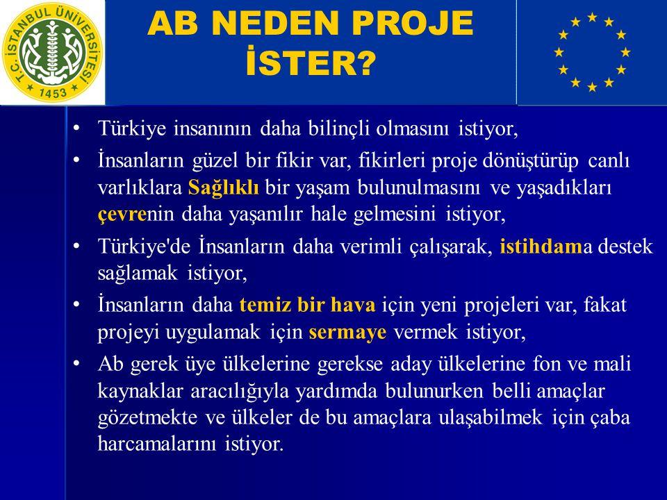 AB NEDEN PROJE İSTER? Türkiye insanının daha bilinçli olmasını istiyor, İnsanların güzel bir fikir var, fikirleri proje dönüştürüp canlı varlıklara Sa