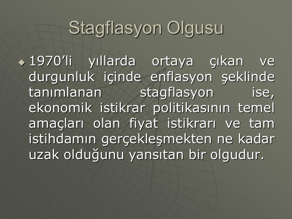Stagflasyon Olgusu  1970'li yıllarda ortaya çıkan ve durgunluk içinde enflasyon şeklinde tanımlanan stagflasyon ise, ekonomik istikrar politikasının