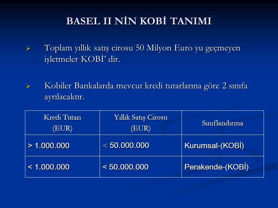 YENİ KOBİ TANIMI  Sanayi ve Ticaret Bakanlığının hazırladığı ve 18.11.2005 tarih-25997 sayılı Resmi Gazetede yayınlanan ve bu tarihten 6 ay sonra yürürlüğe girecek yönetmeliğe göre; Mikro işletme; 1–9 işçi çalıştıran ve net satış hâsılatı 1.000.000-YTL yi aşmayan, Küçük İşletme; 10–49 işçi çalıştıran ve net satış hâsılatı 5.000.000-YTL yi aşmayan, Orta İşletme; 50–249 işçi çalıştıran ve net satış hâsılatı 25.000.000-YTL yi aşmayan işletmelerdir