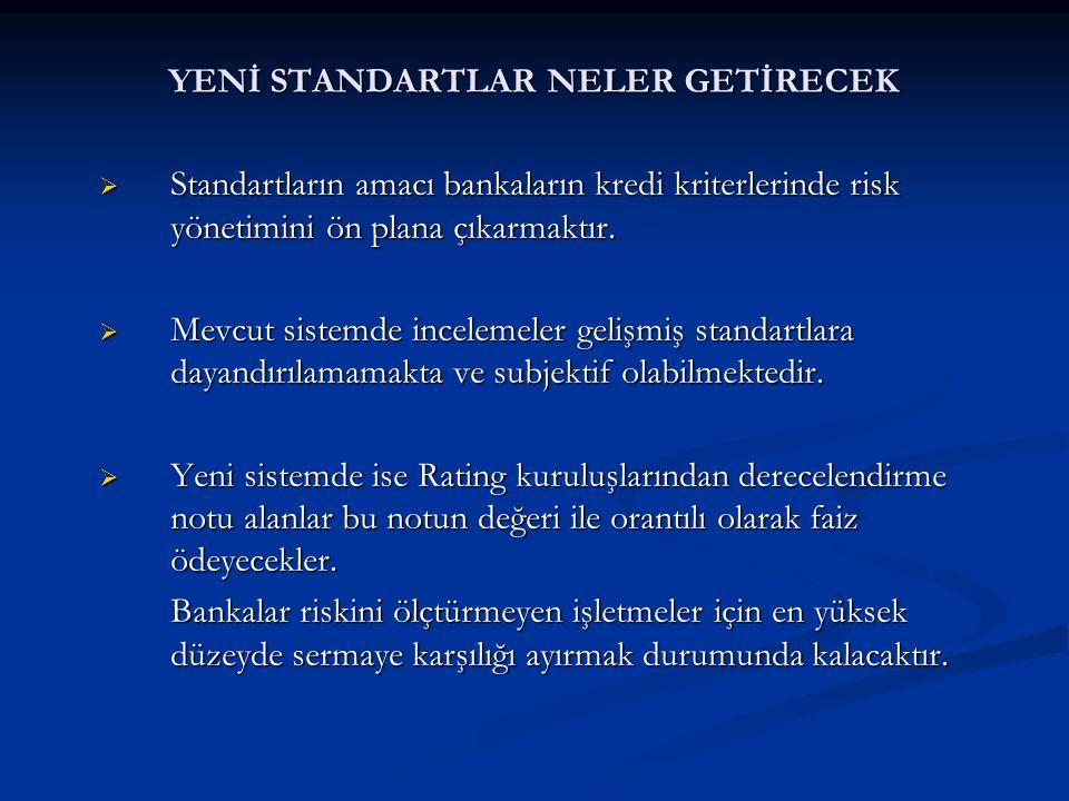YENİ STANDARTLAR NELER GETİRECEK  Standartların amacı bankaların kredi kriterlerinde risk yönetimini ön plana çıkarmaktır.