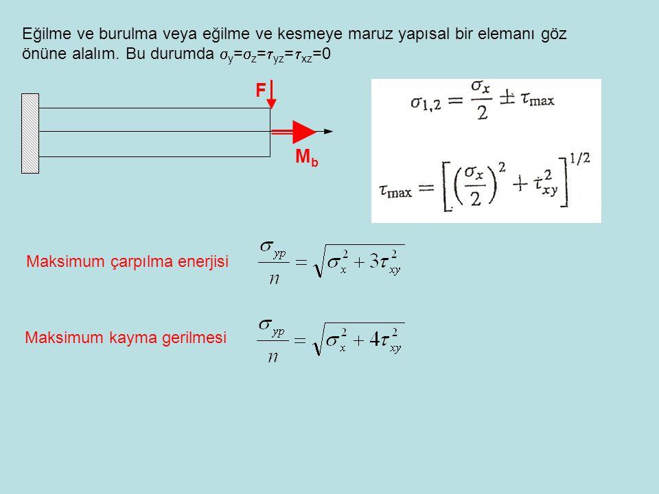 Eğilme ve burulma veya eğilme ve kesmeye maruz yapısal bir elemanı göz önüne alalım. Bu durumda  y =  z =  yz =  xz =0 F MbMb Maksimum çarpılma en