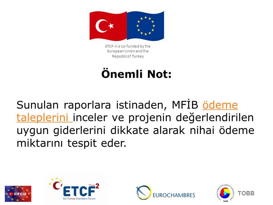 Önemli Not: Sunulan raporlara istinaden, MFİB ödeme taleplerini inceler ve projenin değerlendirilen uygun giderlerini dikkate alarak nihai ödeme mikta