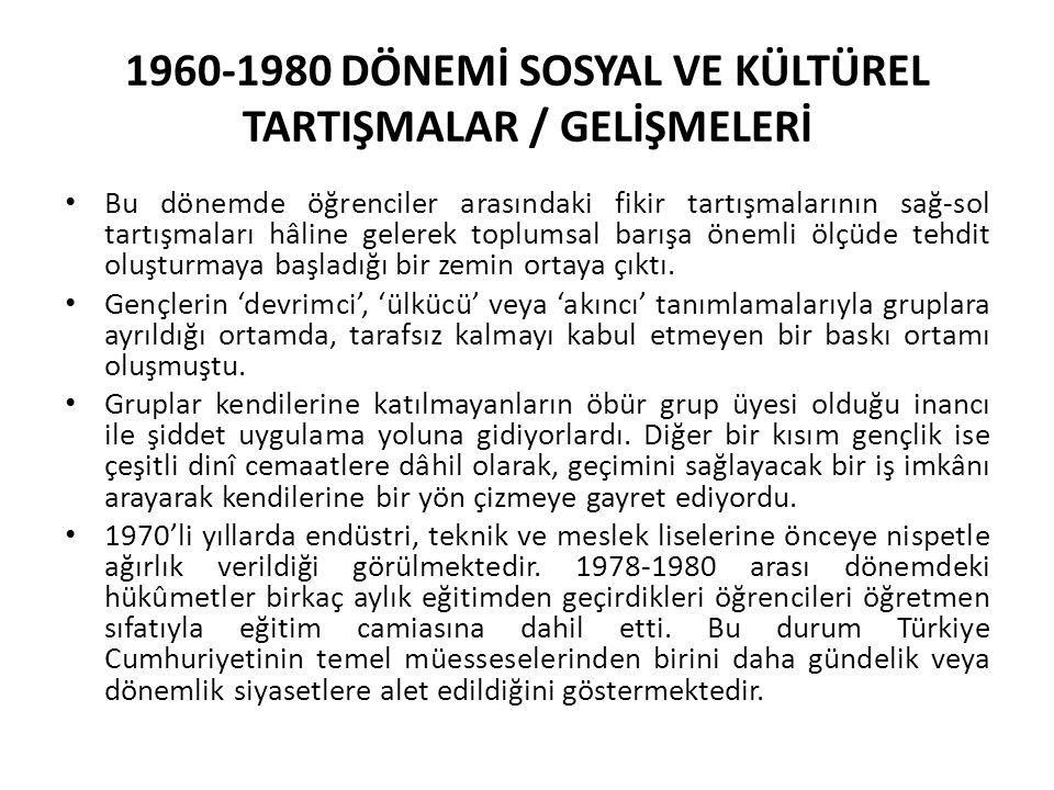 1960-1980 DÖNEMİ SOSYAL VE KÜLTÜREL TARTIŞMALAR / GELİŞMELERİ Bu dönemde öğrenciler arasındaki fikir tartışmalarının sağ-sol tartışmaları hâline gelerek toplumsal barışa önemli ölçüde tehdit oluşturmaya başladığı bir zemin ortaya çıktı.