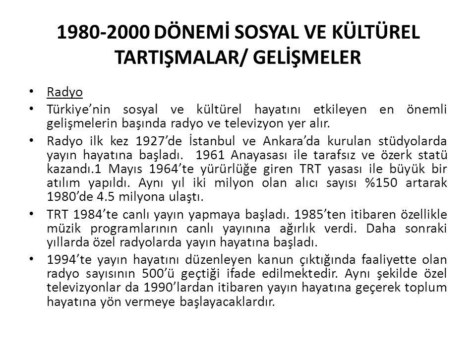 1980-2000 DÖNEMİ SOSYAL VE KÜLTÜREL TARTIŞMALAR/ GELİŞMELER Radyo Türkiye'nin sosyal ve kültürel hayatını etkileyen en önemli gelişmelerin başında radyo ve televizyon yer alır.