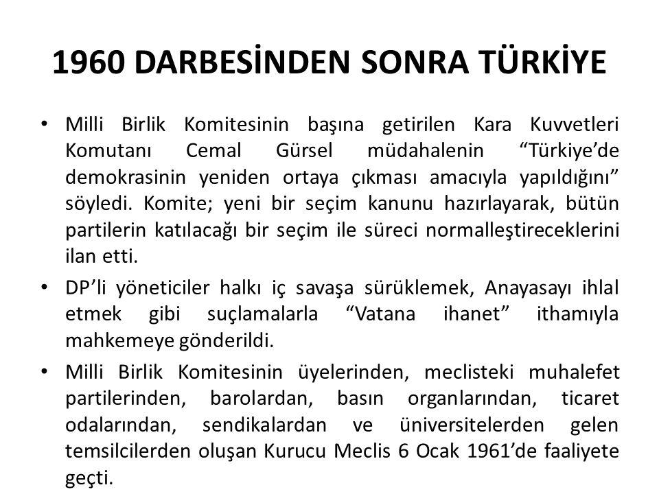"""1960 DARBESİNDEN SONRA TÜRKİYE Milli Birlik Komitesinin başına getirilen Kara Kuvvetleri Komutanı Cemal Gürsel müdahalenin """"Türkiye'de demokrasinin ye"""