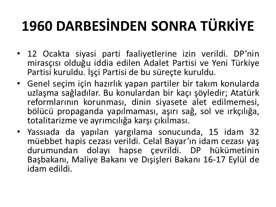 1960 DARBESİNDEN SONRA TÜRKİYE 12 Ocakta siyasi parti faaliyetlerine izin verildi. DP'nin mirasçısı olduğu iddia edilen Adalet Partisi ve Yeni Türkiye