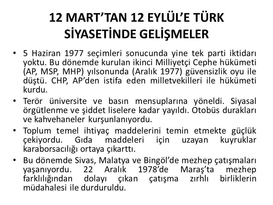12 MART'TAN 12 EYLÜL'E TÜRK SİYASETİNDE GELİŞMELER 5 Haziran 1977 seçimleri sonucunda yine tek parti iktidarı yoktu. Bu dönemde kurulan ikinci Milliye