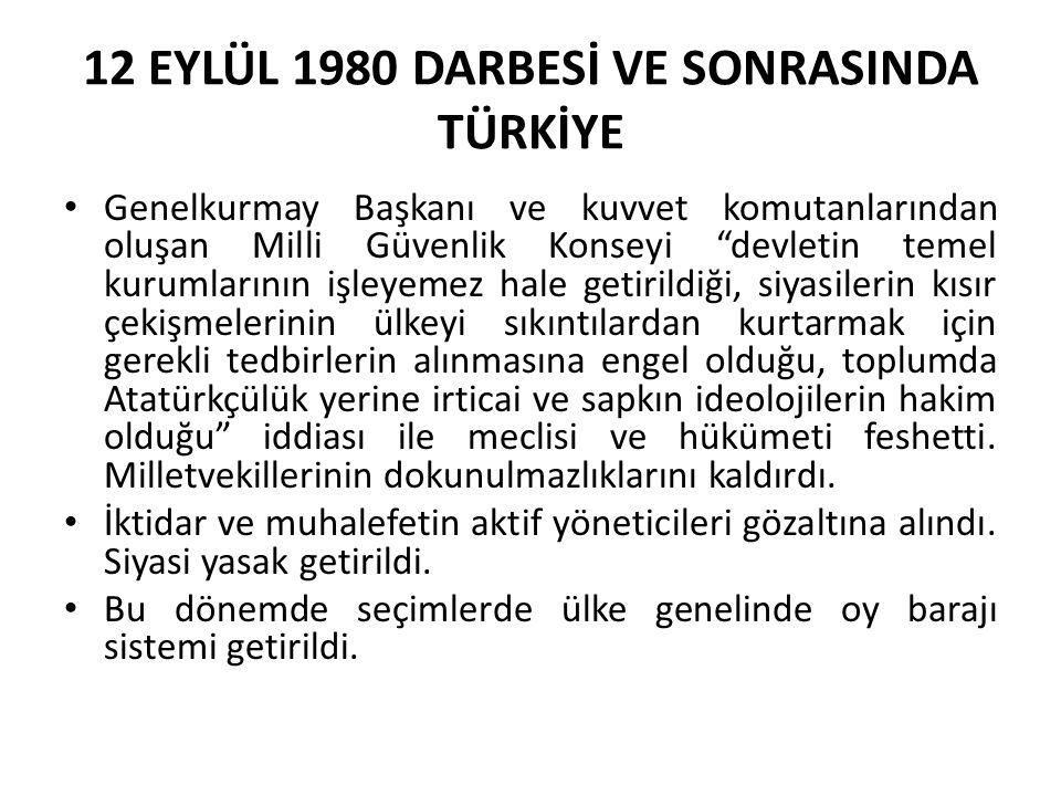 """12 EYLÜL 1980 DARBESİ VE SONRASINDA TÜRKİYE Genelkurmay Başkanı ve kuvvet komutanlarından oluşan Milli Güvenlik Konseyi """"devletin temel kurumlarının i"""
