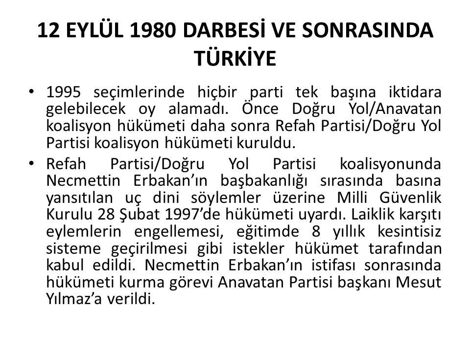 12 EYLÜL 1980 DARBESİ VE SONRASINDA TÜRKİYE 1995 seçimlerinde hiçbir parti tek başına iktidara gelebilecek oy alamadı. Önce Doğru Yol/Anavatan koalisy