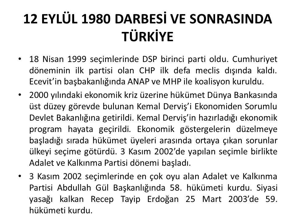 12 EYLÜL 1980 DARBESİ VE SONRASINDA TÜRKİYE 18 Nisan 1999 seçimlerinde DSP birinci parti oldu. Cumhuriyet döneminin ilk partisi olan CHP ilk defa mecl
